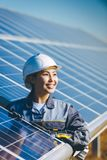 Solar power station. Green electricity panel view royalty free stock photography