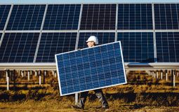Solar power station. Green electricity panel view stock photography