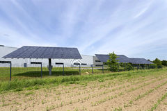 Solar Power Station on the green Meadow Stock Photos