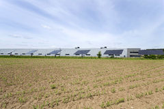 Solar Power Station on the green Meadow Royalty Free Stock Photos