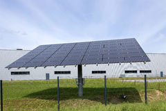 Solar Power Station on the green Meadow Stock Photo