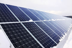 Solar Power Station In The Snowy Winter Nature Royalty Free Stock Photography