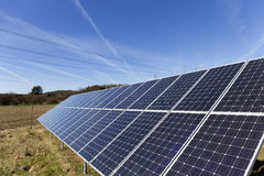 Solar Power Station In The Spring Nature With Blue Sky Stock Images
