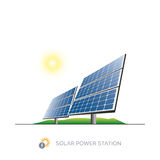 Solar power station. Isolated solar power station with sun on white background Stock Photo