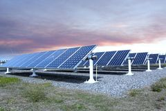 Solar power station. Outdoor solar power station, a number of solar panels arranged stock images