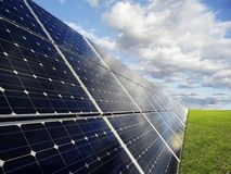 Solar power station -  photovoltaics. Power plant using renewable solar energy Stock Photos