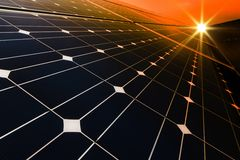 Solar power station -  photovoltaics with sunset Royalty Free Stock Photography