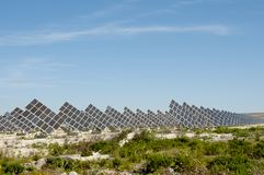 Solar Power Station. In Rural Area royalty free stock photo