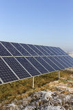 Solar Power Station in the snowy freeze winter Nature Stock Photos