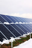 Solar Power Station in the snowy winter Nature Royalty Free Stock Images