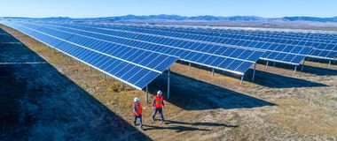 Solar power station. Green electricity panel view stock photo
