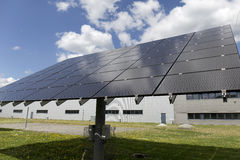 Solar Power Station on the summer Meadow Stock Photography