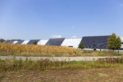 Solar Power Station on the summer Meadow Stock Image