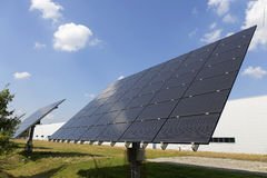 Solar Power Station on the summer Meadow Stock Photos