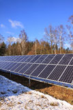 Solar Power Station in the Winter Nature Stock Image