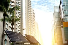 Solar power technology in the city future. Power royalty free stock image