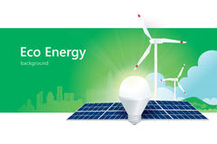 Solar power and wind energy Stock Images