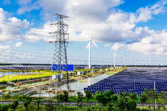 Solar power and wind power Royalty Free Stock Images