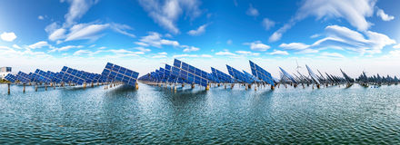 Solar power and wind power Royalty Free Stock Image