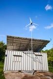 Solar power and wind turbine generator.  Green energy concept. Stock Photo