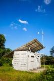 Solar power and wind turbine generator.  Green energy concept. Stock Image