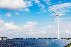 Solar power and wind turbines Royalty Free Stock Photography