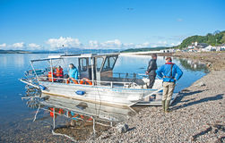 Solar powered boat. Pollution free, giving trips around the Beauly Firth from North Kessock, Scottish Highlands on 1st October 2016 stock photography