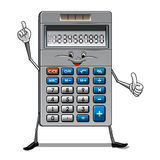 Solar powered calculator cartoon character. Happy calculator cartoon character with blue and white buttons, solar panel and numbers on the screen suitable for Stock Image
