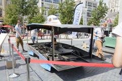 Solar powered car Antwerp stock photography