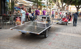 Solar powered cars. Nicosia, Cyprus, June 25 2016: Solar powered cars parading to awake people for the benefits of the use of renewable energy during the anual Stock Photography