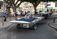 Solar powered cars. Nicosia, Cyprus, June 25 2016: Solar powered cars parading to awake people for the benefits of the use of renewable energy during the anual Stock Photos