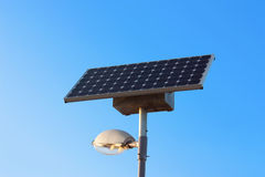 Solar powered city lamp isolated on blue sky Stock Photography