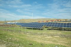 Solar-powered electricity system . Solar panel, photovoltaic, alternative electricity source - concept of sustainable resources stock photo