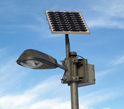 Solar powered lamp post stock photo