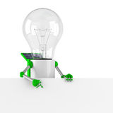 Solar powered light bulb robot - blank banner. White background Stock Image