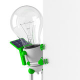 Solar powered light bulb robot - blank billboard. Close up Royalty Free Stock Images