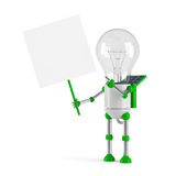 Solar powered light bulb robot - blank placard. Isolated on white background Stock Photography