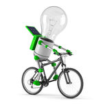 Solar powered light bulb robot - cycling. Isolated on white background Royalty Free Stock Photo