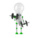 Solar powered light bulb robot - fitness Stock Photos