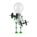 Solar powered light bulb robot - fitness. Isolated on white background Stock Photos