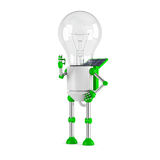 Solar powered light bulb robot - ok Royalty Free Stock Image