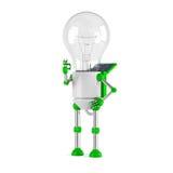 Solar powered light bulb robot - ok. Isolated on white background Royalty Free Stock Image