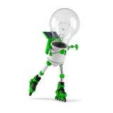 Solar powered light bulb robot - roller skating. Isolated on white background Stock Photo