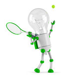 Solar powered light bulb robot - tennis. Isolated on white background Royalty Free Stock Photos