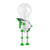 Solar powered light bulb robot - thumbs up Royalty Free Stock Photography