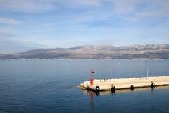 Supetar, Croatia. Solar powered lighthouse on a dok in Supetar, Brac island, Croatia stock images