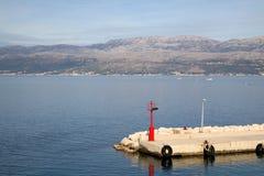 Supetar, Croatia. Solar powered lighthouse on a dok in Supetar, Brac island, Croatia royalty free stock image