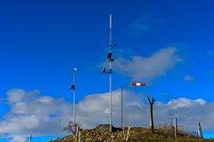 Solar-powered measuring point of meteorological data Stock Photos