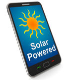 Solar Powered On Mobile Shows Alternative Energy And Sunlight Stock Photos