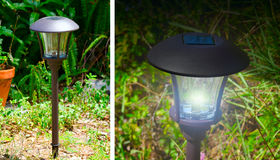 Solar powered outdoor garden lights Royalty Free Stock Photography